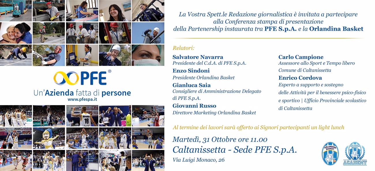 conferenza partnership pfe - orlandina basket