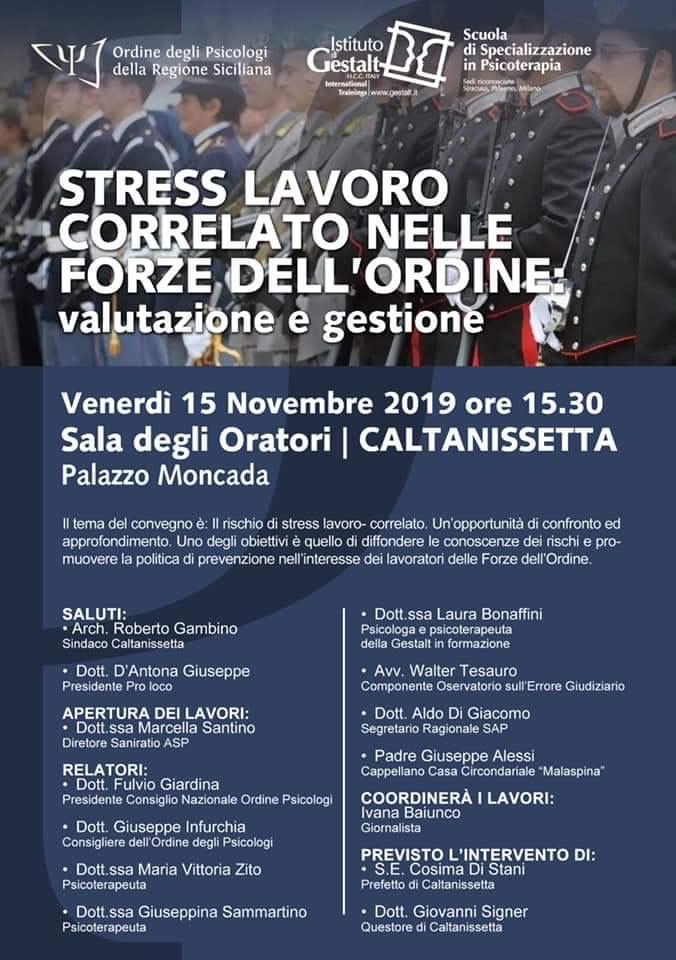 """Caltanissetta, convegno su """"Stress lavoro correlato nelle forze dell'ordine"""" a Palazzo Moncada - CaltanissettaLive"""