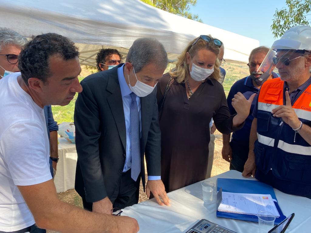 Agrigento: sopralluogo di Musumeci nei cantieri del fiume Verdura